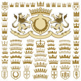 Heraldic crests and crowns collection Royalty Free Stock Photography