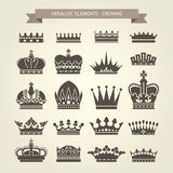 Heraldic crowns set - monarchy coronet. And elite symbols Royalty Free Stock Photos