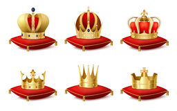 Heraldic  Crowns Set. Heraldic royal crowns on cushions realistic set isolated vector illustration Royalty Free Stock Image