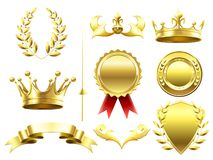 Heraldic 3D elements. Royal crowns and shields. Sport challenge winner gold medal. Laurel wreath and golden crown. Heraldic 3D elements. Royal crowns and shields vector illustration