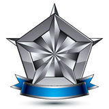 Heraldic 3d glossy blue and gray icon - can be used in web and g Stock Photography