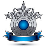 Heraldic 3d glossy blue and gray icon Royalty Free Stock Photography