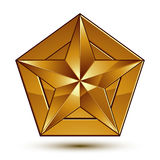 Heraldic 3d glossy icon can be used in web and graphic design. Five-pointed golden star, clear EPS 8 vector Royalty Free Stock Photos
