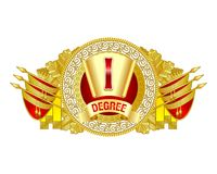 Heraldic decorative label of first degree. Red and golden colors decorated. Can use as top header for diploma or certificates Royalty Free Stock Images