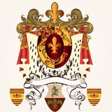 Heraldic design with coat of arms and banner Stock Photography
