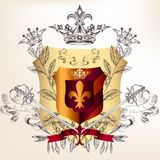 Heraldic design with coat of arms crowns Stock Image