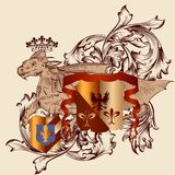 Heraldic design with coat of arms and dragon in vintage style Stock Photo