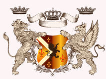 Heraldic design with coat of arms griffin, lion and crowns in an Stock Photography