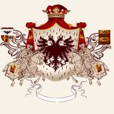 Heraldic design with coat of arms and horses Stock Image