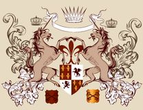 Heraldic design with coat of arms  horses  in vintage style Stock Photos