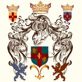Heraldic design with coat of arms and shield Royalty Free Stock Images