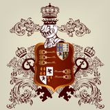 Heraldic design with coat of arms and shield in vintage style Stock Photos
