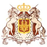 Heraldic design with coat of arms and unicorns Royalty Free Stock Images