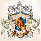 Heraldic design with coat of arms Stock Images