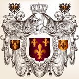Heraldic design with  coat of arms in vintage style Stock Photos