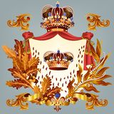 Heraldic design with crown and coat of arms. Heraldic coat of arms in vintage style for design Royalty Free Stock Image