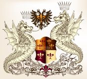 Heraldic design with dragons and shield Stock Photography