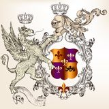 Heraldic design with griffin, knight and coat of arms Stock Image