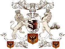 Heraldic design with lion, horse  and shield Royalty Free Stock Photo