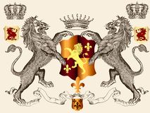 Heraldic design with lions and shield