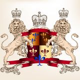 Heraldic design with shield and lions for vintage design Stock Photos