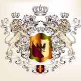 Heraldic design with shield  and lions in vintage style Stock Photography