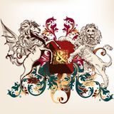 Heraldic design with shield, winged horse and lion Royalty Free Stock Photos