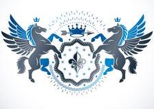 Heraldic design, vector vintage emblem made with graceful Pegasus illustration, imperial crown and Lily flower royal symbol. stock illustration