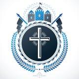 Heraldic design, vector vintage emblem. Stock Photo