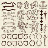 Heraldic design vintage retro shield clipart royal chest elements medieval knight ornament vector illustration. Stock Image