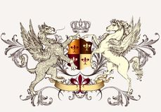 Heraldic Design With Griffin And Horse Stock Image