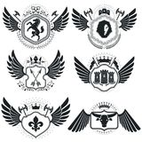 Heraldic designs, vector vintage emblems. Coat of Arms collectio. N, vector set Royalty Free Stock Image