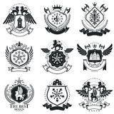 Heraldic designs, vector vintage emblems. Coat of Arms collectio. N, vector set Royalty Free Stock Images