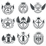 Heraldic designs, vector vintage emblems. Coat of Arms collectio Stock Images