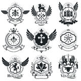 Heraldic designs, vector vintage emblems. Coat of Arms collectio. N, vector set Stock Images