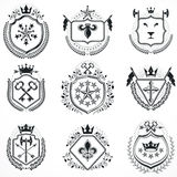 Heraldic designs, vector vintage emblems. Coat of Arms collectio Royalty Free Stock Photos