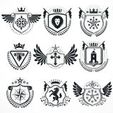 Heraldic designs, vector vintage emblems. Coat of Arms collectio. N, vector set Royalty Free Stock Photos
