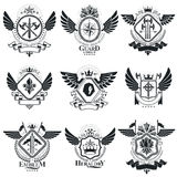 Heraldic designs, vector vintage emblems. Coat of Arms collectio Royalty Free Stock Photography