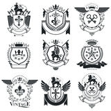 Heraldic designs, vector vintage emblems. Coat of Arms collectio Stock Photography