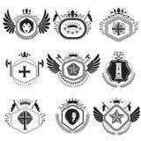 Heraldic designs, vector vintage emblems. Coat of Arms collectio. N, vector set Stock Image