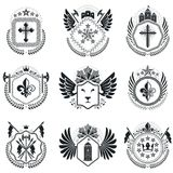 Heraldic designs, vector vintage emblems. Coat of Arms collectio. N, vector set Royalty Free Stock Photography