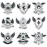 Heraldic designs, vector vintage emblems. Coat of Arms collectio. N, vector set royalty free illustration