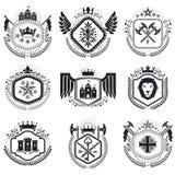 Heraldic designs, vector vintage emblems. Coat of Arms collectio. N, vector set Stock Photos