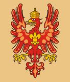 Heraldic eagle. Red heraldic eagle and fleur de lys Royalty Free Stock Image