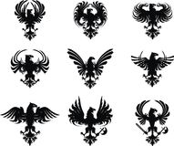 Heraldic eagle coat of arms set vector illustration