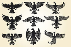 Heraldic eagle set Stock Photos