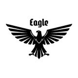Heraldic eagle sign of black bird with open wings Royalty Free Stock Image