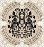 Heraldic Eagles decorated with floral ornaments Stock Photos