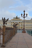 Heraldic eagles , the General staff arch and ancient lantern. In Saint-Petersburg Royalty Free Stock Photo
