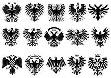 Heraldic eagles set. For web design Stock Image